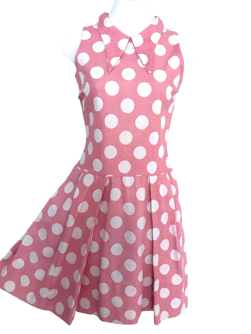 Early 60s 100% Linen Pretty Pink & White Big Polka Dot Sleeveless Pleated MOD Twiggy Dress, Summer Linen Spot Flared Collared Everyday Dress