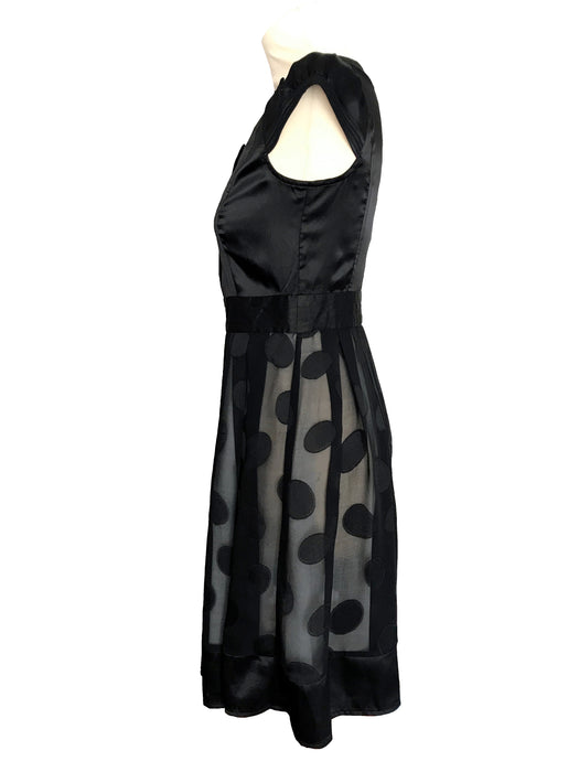 90s does 40s 50s Vintage Black Satin & Sheer Chiffon Big Spot Polka Dot Cocktail Little Black Dress LBD, Black Satin Shirtwaist Pin Up Dress