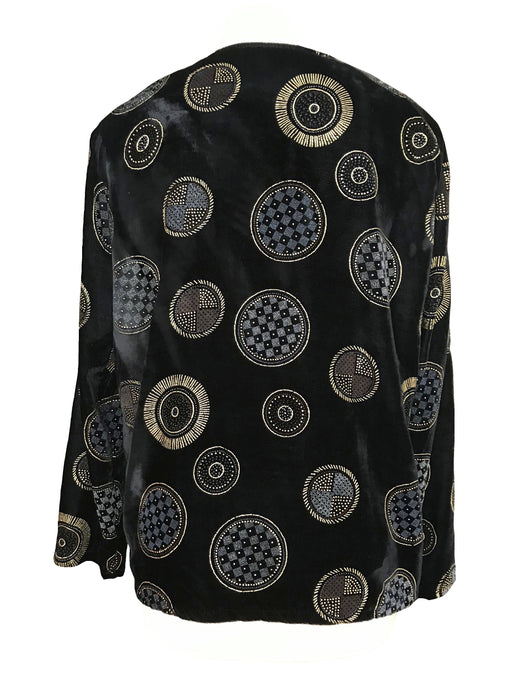 80s Vintage Bohemian Black Velvet Graphic Gold Embellished Flocked Golden Button Down Retro Jacket Tunic Top Christmas New Year Cardigan M-L