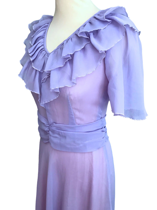 70s does 30s Two Tone Lavender Lilac Pink Pastel Colours Chiffon Frill Ruched Full Circle Prom Wedding Guest Races Party Festival Maxi Dress