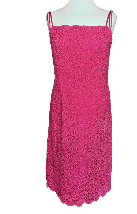 80s Hot Bubblegum Pink Cotton Lace Mesh Textured Floral Patterned Spaghetti Straps Cocktail Party Sheath Dress, Summer Pink MOD Column Dress