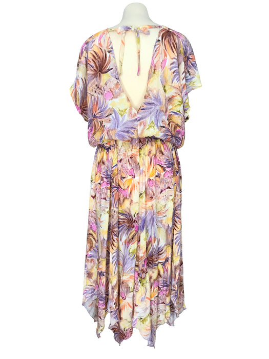 80s Pastel Colours Floral Tropical Print Kimono Dolman Capped Sleeve Low Cut Out Back Handkerchief Asymmetrical Hem Blouson Summer Day Dress