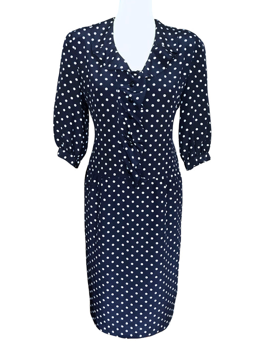 80s Japanese Vintage Navy Blue White Polka Dot Ruffle Frill Detailed V-Neck Sheath 3/4 Sleeve Day Tea Dress Retro, Occasion Cocktail Dress