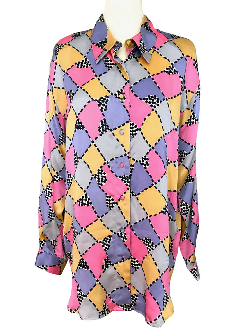 80s 100% Silk Satin Abstract Pop Art Check Geometric Print Ladies Men's Unisex Button-Down Festival Party Shirt Blouse Tunic Top sz Large