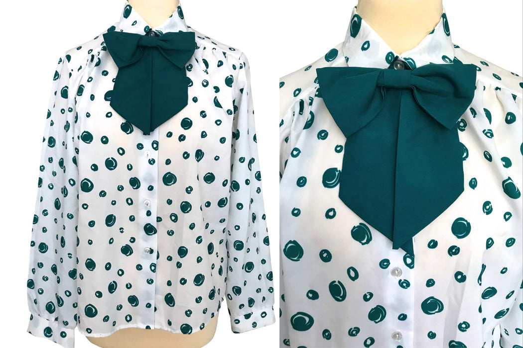 70s Vintage Secretary Detachable Pussybow Collar White & Forest Green Button Down Shirt Blouse, Casual Street Style Office Wear Top Blouse