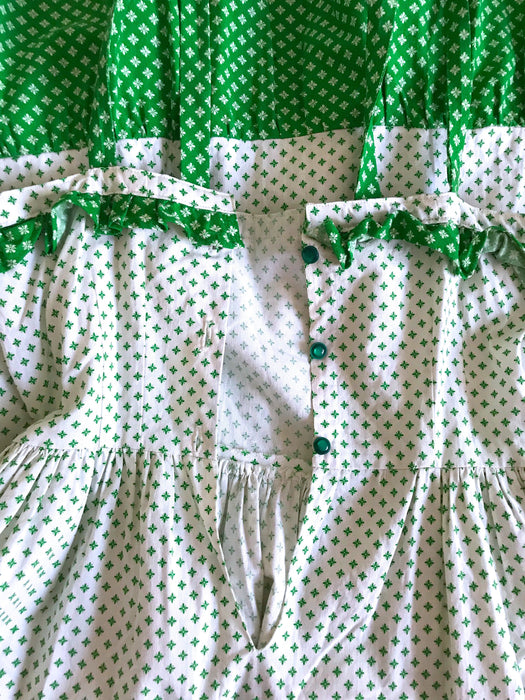 70s 100% Cotton White Green Floral Print Belted Boho Prairie Ruffle Frill Festival Summer Sun Dress, Clover Print Frill Pocket Festive Dress