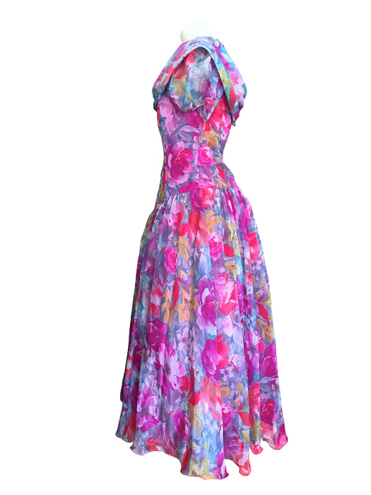 80s Vera Mont Sheer Chiffon Pink Purple Blue Grey Floral Print Bardot Neck Party Prom Occasion Dress, Portrait Collar Wedding Races Dress