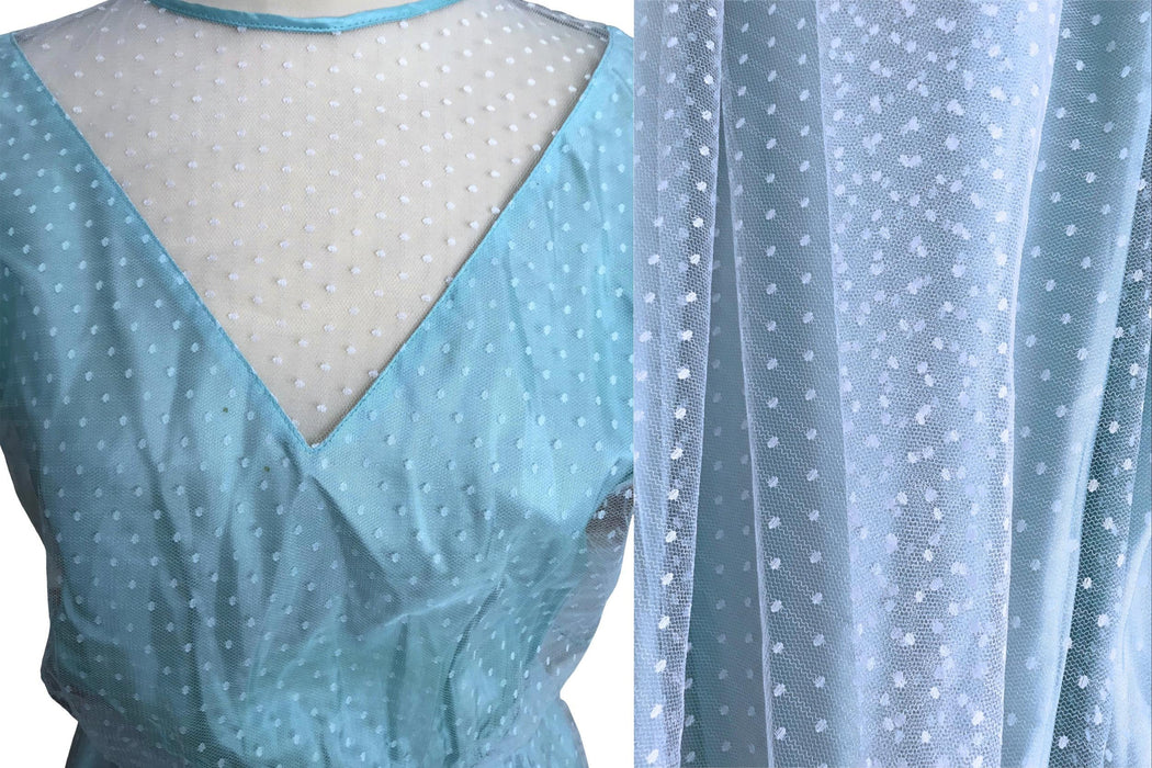 80s does 50s Baby Blue Mint Green Polka Dot Tulle Puff Sleeve Illusion Neckline Full Circle Swing Skirt Princess Prom Party Dress Ball Gown