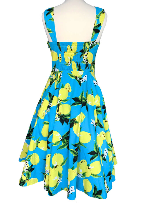50s Style Cotton Turquoise Blue Yellow Lemon Print H & R London Lemons Print Sun Dress, Summer Garden Party Smock Back Pin Up Swing Dress