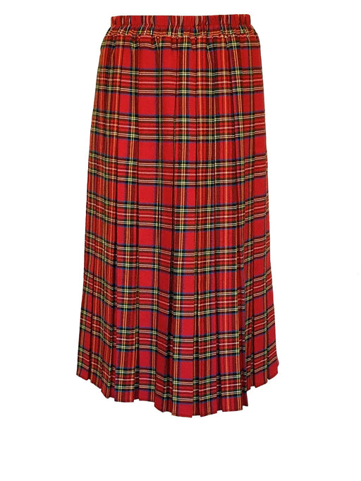 60s-70s Vintage Stewart Red Green Wool Tartan Check Plaid Pleated Skirt, Christmas Tartan Wear, Scottish Tartan Skirt, Mother's Day gift
