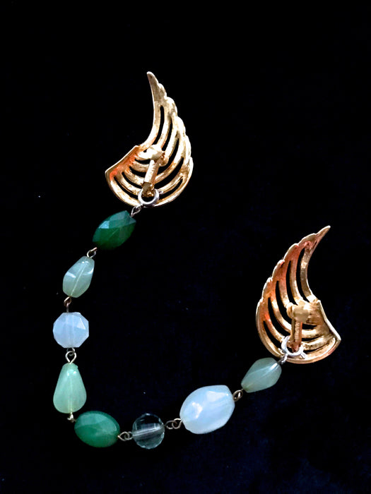 60s Napier Signed 3 in 1 Versatile Piece Sweater Clip/ Earrings/Bracelet, Faux Jade Glass Bracelet, Crescent Clip Earrings, Dress Cape Clasp