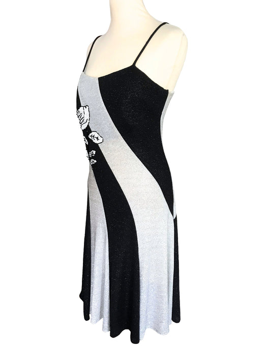 70s-80s Black White Silver Lurex Glitter On Sparkly Shimmer Cocktail Party Halloween Xmas Occasion Evening Sheath Slinky Cross Panel Dress