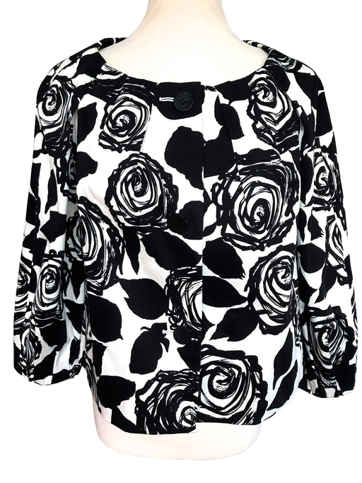 Joan and David Black & White Rose Print Linen Jacket, Button Down Summer Ladies Jacket Top Large, Smart Casual Career Cocktail Cruise Jacket