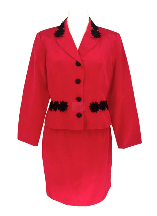 80s does 40s True Red Jacket & Skirt Suit, Black Lace Trim Monsoon Twilight Vintage Two Piece Dress Suit, Career Business Smart Skirt Set