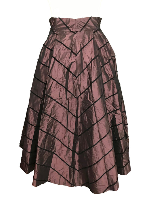 50s Iridescent Taffeta Brown Caramel & Purple Black Velvet Trim Full Circle Swinging Evening Occasion Dance Party Lindy Bop Maxi VTG Skirt