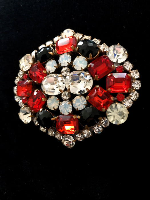 Old Czechoslovakia HUGE Jablonec Crystal Glass Ruby Red Black White Rhinestones Handmade Christmas Mardi Gras Carnival HUSAR.D Signed Brooch