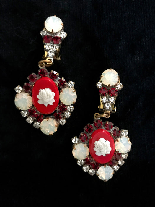 Old Czech Crystal Glass Red Opaque White Cameo Rhinestone Handmade HUSAR.D Signed Drop Dangle Clip Earrings Czechoslovakia Jablonec Earrings