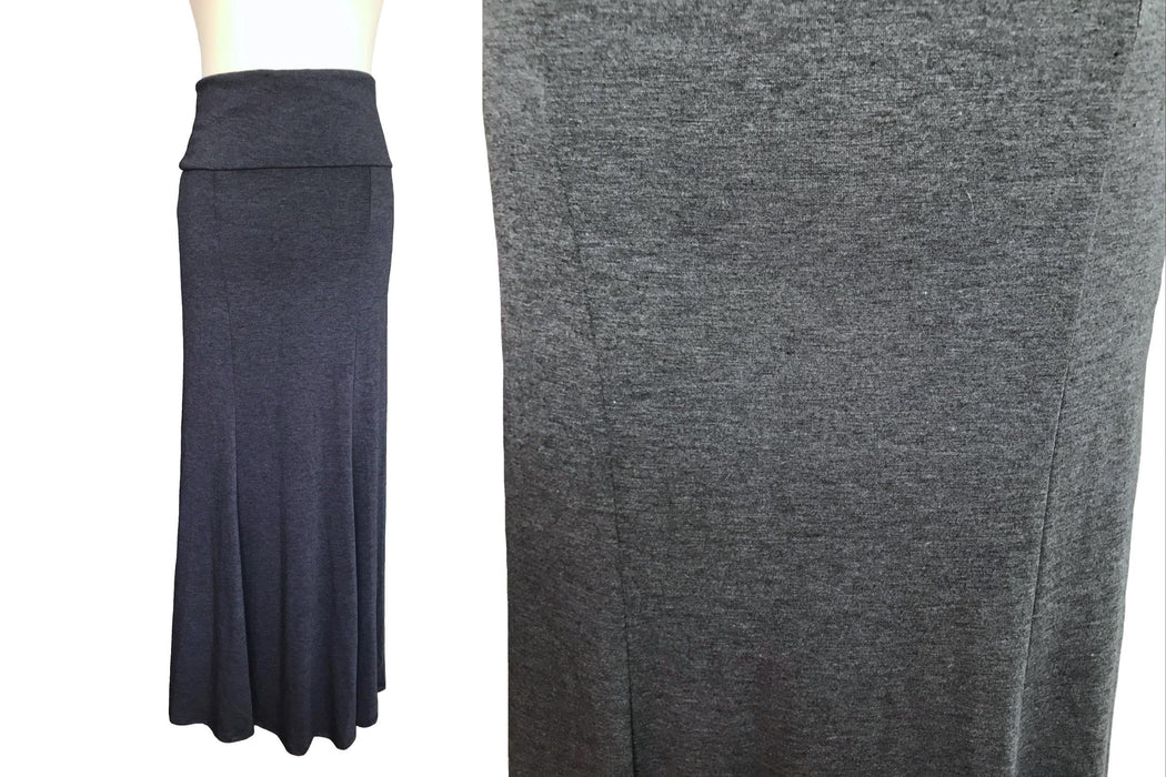90s Dove Grey Slinky Jersey Knit Stretchy Godet Longline Midi Skirt, Casual Grunge Wear Skirt, Fall Fold Over Waist Long Grey Skirt Small