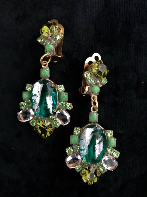 Old Czech Crystal Glass LARGE Green & Peridot Rhinestone Handmade HUSAR.D Designer Signed Drop Dangle Clip Earrings, Czechoslovakia Jablonec