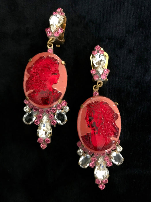 Old Czech Crystal Glass HUGE Cameo Carved Coral Red Rhinestone Handmade HUSAR.D Signed Drop Dangle Clip Earrings, Czechoslovakia Jablonec
