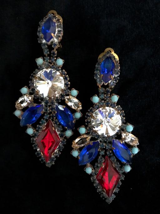 Old Czech Crystal Glass LARGE Blue Red Clear Rhinestone Handmade HUSAR.D Signed Drop Dangle Clip Earrings, Czechoslovakia Jablonec Earrings