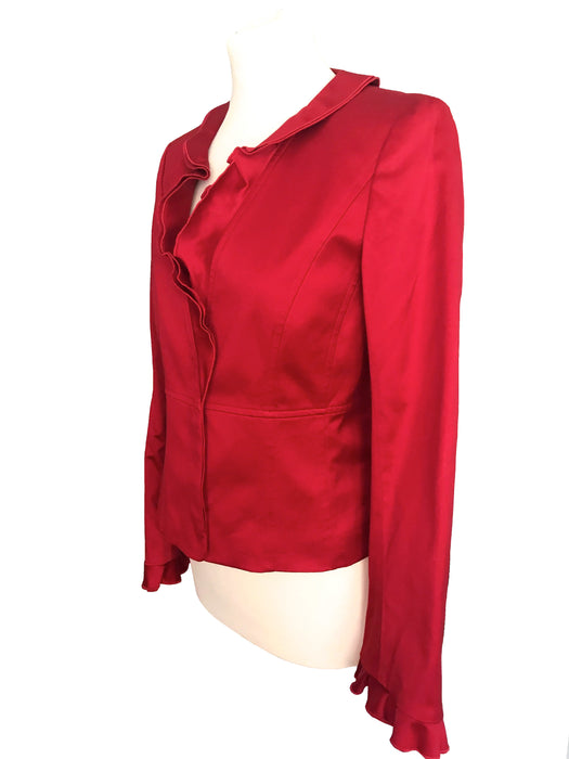 90s French Vintage Designer Alain Manoukian Lush Red Sheen Polished Cotton Frill Trim Fit Evening Occasion Christmas Party Trophy Jacket Top