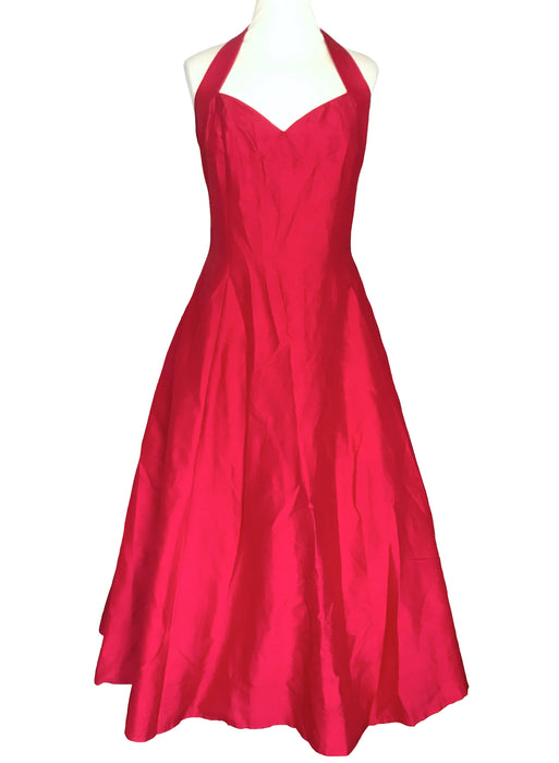 80s does 50s 100% Silk Monsoon Twilight Lush Red Halter Neck Sweetheart Occasion Evening Prom Xmas Party Cruise Full Swing Dress Ball Gown L