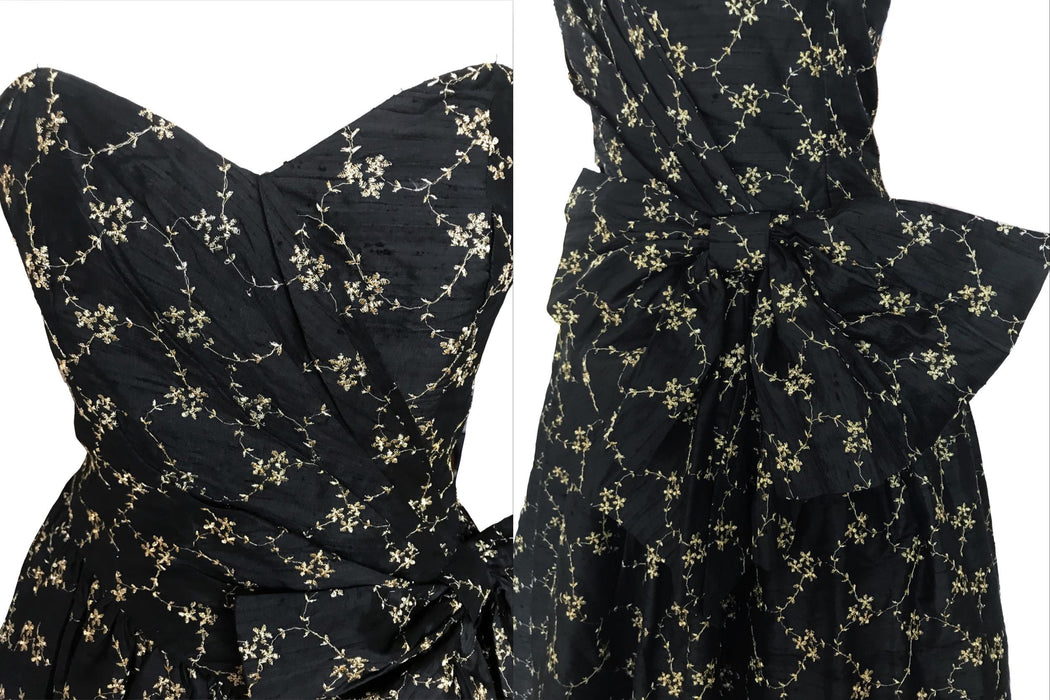 80s does 50s 100% Silk Monsoon Twilight Black with Golden Embroidery Strapless Wrap Occasion Evening Prom Xmas Party Swing Dress Ball Gown S