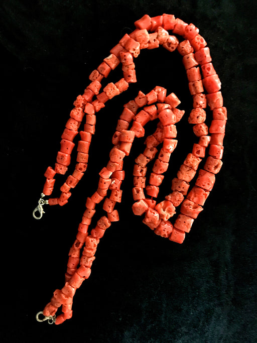 Large Ancient Italian Untreated Collectable Natural Marine Coral Tube Shape Beads Two Strand Necklace 121g, Top Quality Mediterranean Corals