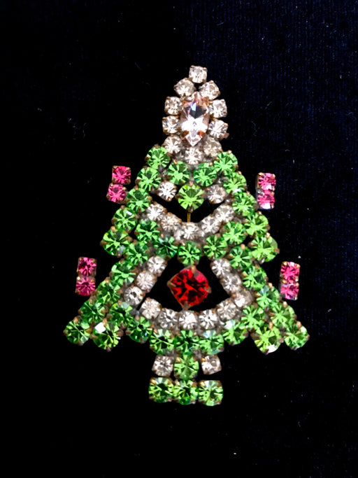 Old Czech Crystal Glass Ruby Red Green Pink Rhinestone Handmade Xmas Tree HUSAR.D Designer Signed Brooch Pin, Czechoslovakia Jablonec Pin