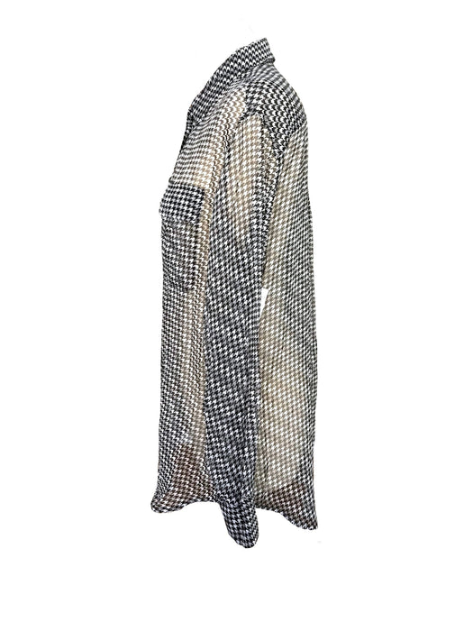 100% Sheer Silk Chiffon Grey Beige Ivory Houndstooth Check Patch Pockets Ladies Long Tunic Button Down Top Overlay Classic Shirt Blouse NOS