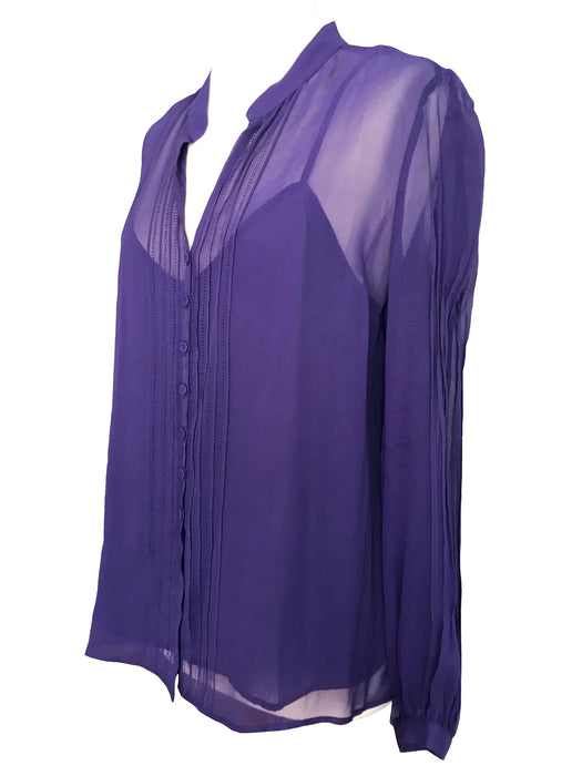 100% Sheer Silk Georgette French Designer Gerard Darel Purple Button Down Blouse Hemstiching and Tucks Trim & Underlay Camisole Top sz Large