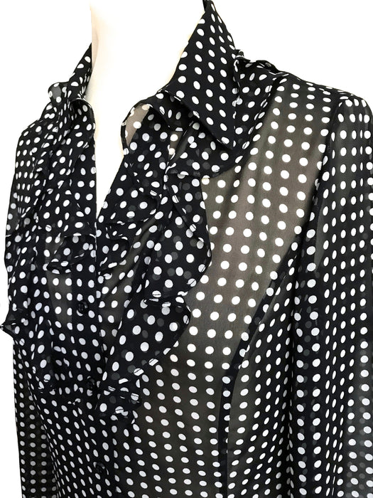 Tahari Semi-Sheer Black White Polka Dots Jabot Frill Collar Button Down Semi Fitted Blouse Top, Office Business Smart Casual Classy Shirt