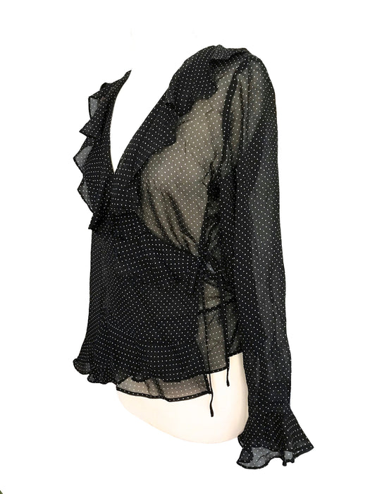 90s 100% Sheer Silk Italian Vintage Black & White Swiss Dots Frill Ruffle Wrap Blouse Top, Cocktail Party Plunge V-Neck Wrap Silk Blouse