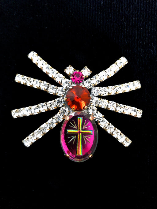Old Czechoslovakia Jablonec Crystal Glass Watermelon Rhinestones Handmade Halloween Mardi Gras Carnival Spider HUSAR.D Signed Brooch Pin