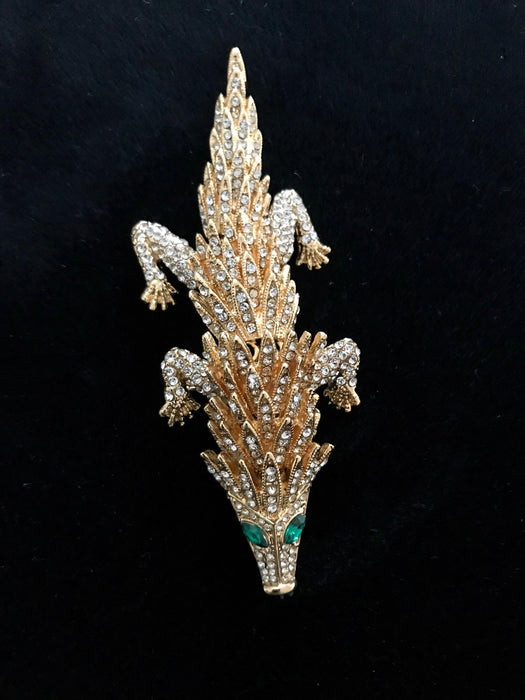 Articulated Statement Jointed Crocodile Alligator Cayman Rhinestone Pave Emerald Green Shoulder Brooch Pin, Xmas New Year Prom Brooch Pin