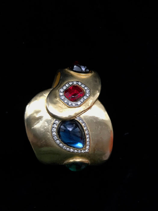 80s Couture Statement Cuff Bracelet, Gold Plate Sapphire Ruby Emerald Rhinestone Statement Cuff Hinge Bracelet Xmas Bday Holiday Mom's Gift