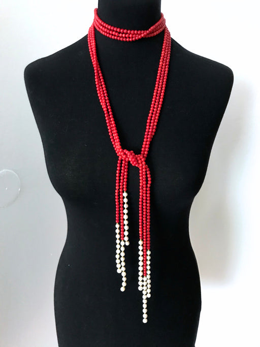 South Sea Red Corals & Pearl Flapper Rope Lariat 3 Strand Necklace, Xmas Mardi Gras Pageant Coral Necklace, Prom Mother's Day Gift Flapper