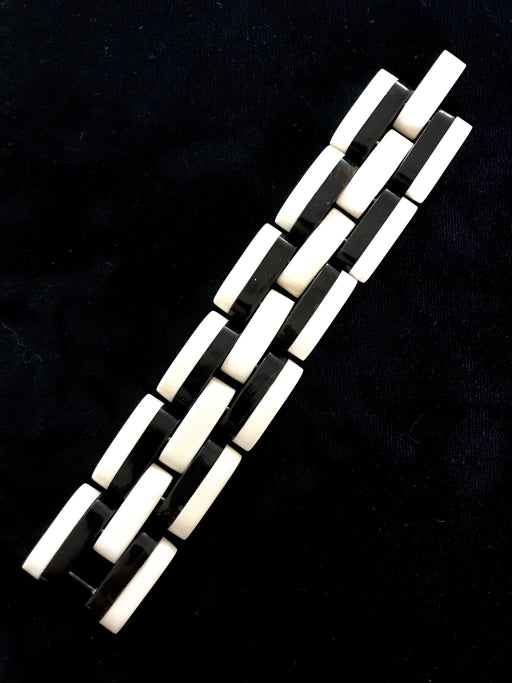 30s Black & White Galalith Old Plastic Bracelet, Art Deco Ivory Off White and Black Two-Tone Link Bracelet, Xmas NY Gift Retro Bracelet