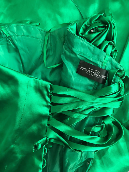 80s Emerald Kelly Green Satin Strapless Rosette & Crystal Trim Ruched Lace Up Back Cocktail Prom Party Dress, Xmas Mardi Gras Carnival Dress