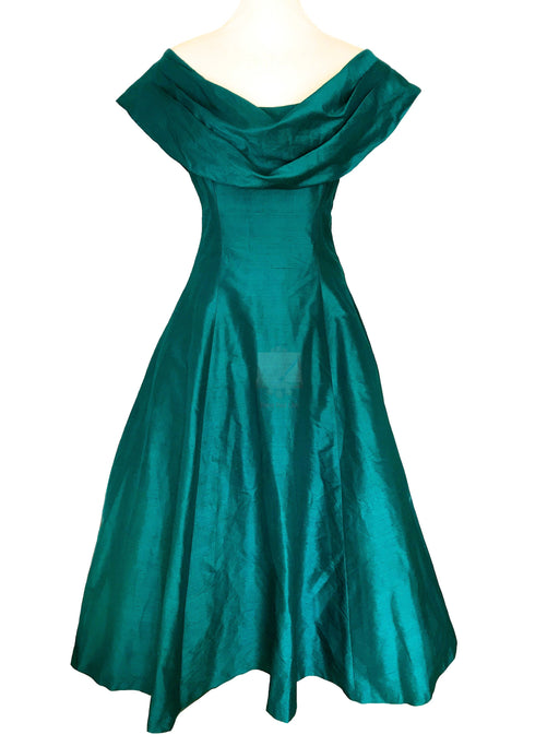 80s does 50s 100% Silk Monsoon Twilight Emerald Green Portrait Off Shoulder Open Back Occasion Evening Prom Xmas Party Swing Dress Ball Gown