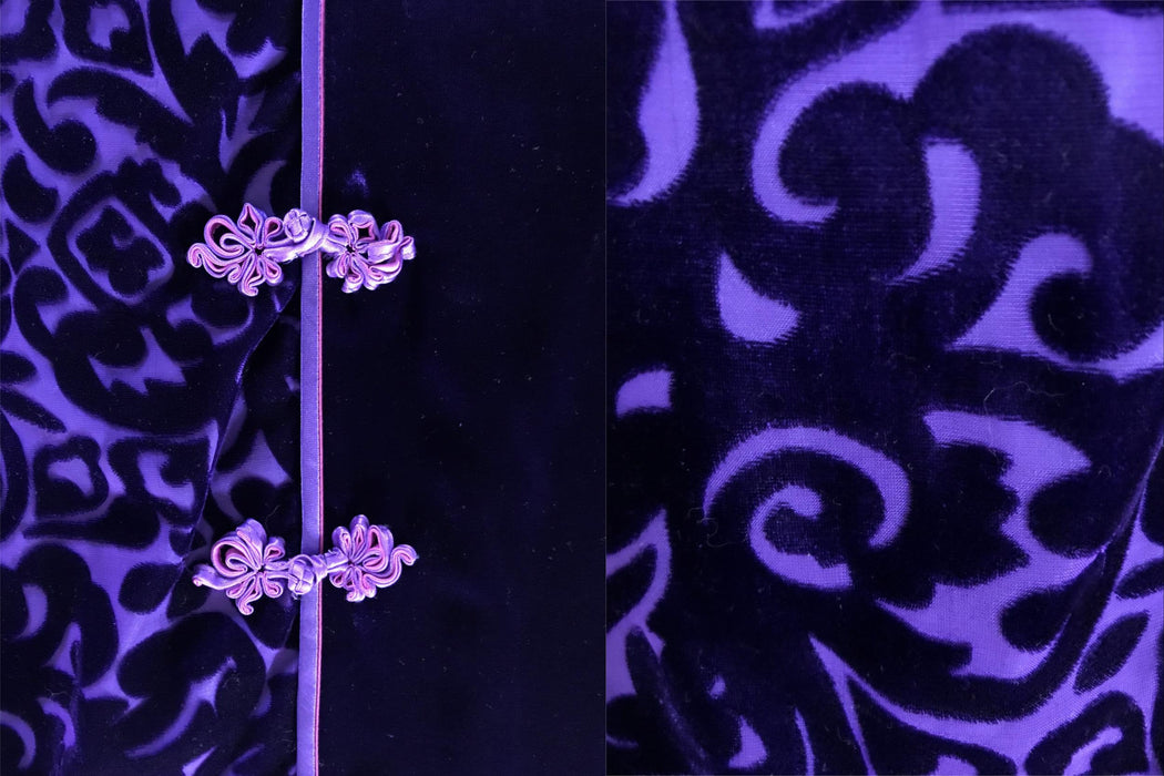 80s-90s Royal Purple Burnout Velvet Devore Cheongsam Qipao Chinese Asian Maxi Dress Large US 12 UK 16, Purple Velvet Sheath Evening Dress