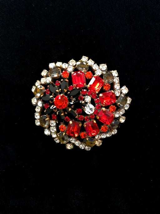 Old Czechoslovakia HUGE Jablonec Crystal Glass Black Smoky Topaz Red Rhinestone Handmade Christmas Mardi Gras Carnival HUSAR.D Signed Brooch