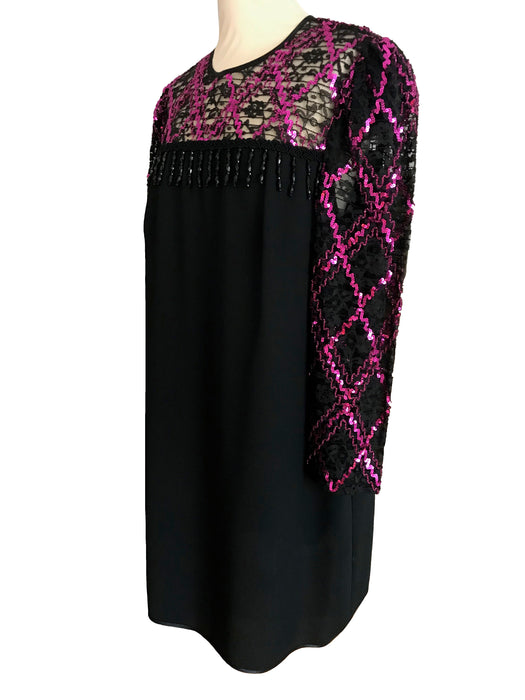 80s does 60s Black Hot Pink Sequin Lace Bead Fringe Shift Cocktail Xmas New Year Party Vintage Retro Dress, Occasion Evening Mardi Gras LBD