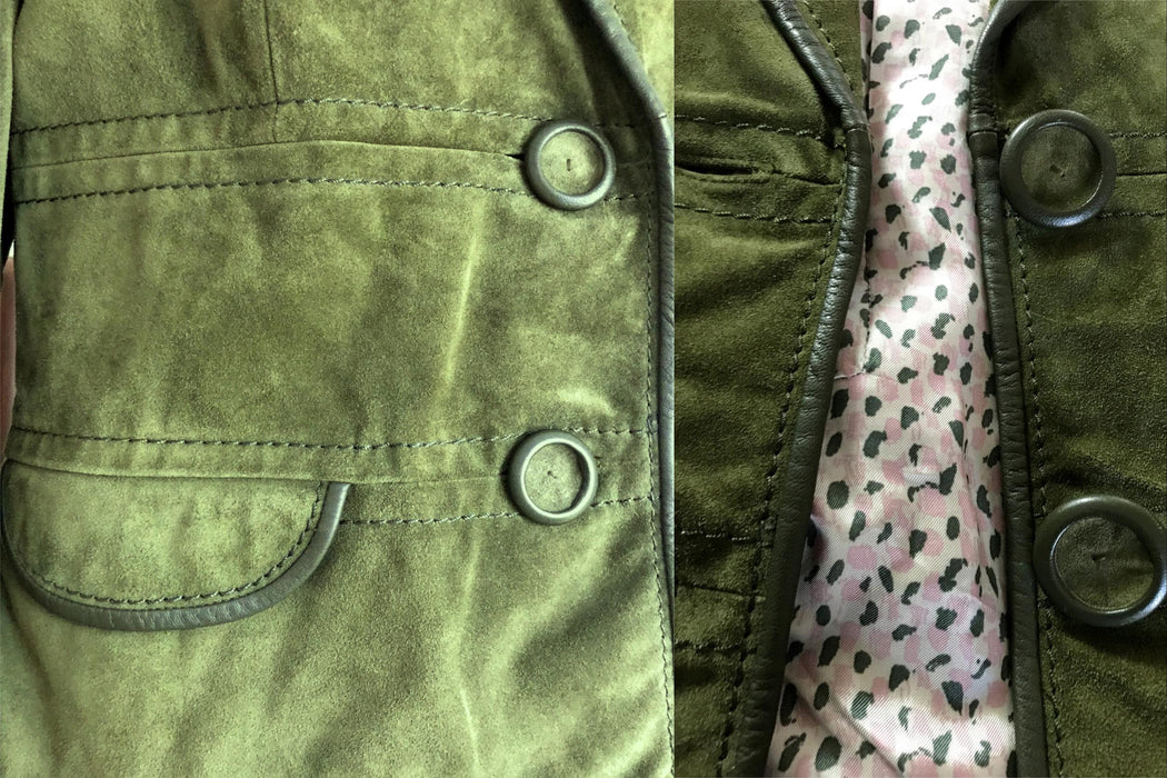 Max Mara Crocodile Moss Green Heavy Genuine Suede Leather Piped Cropped Blazer Street Jacket Short Coat, Green Suede Designer Xmas Jacket L