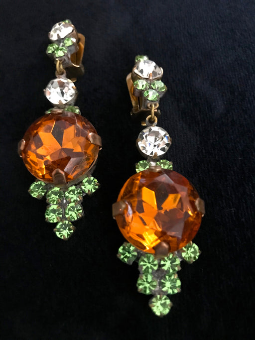 Old Czech Crystal Glass LARGE Green & Amber Rhinestone Handmade HUSAR.D Designer Signed Drop Dangle Clip Earrings, Czechoslovakia Jablonec