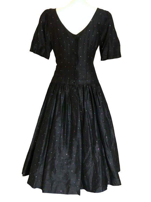 80s does 50s 100% Shantung Silk Monsoon Twilight  Black & Rainbow Metallic Jewels Occasion Evening Prom New Year Party Swing Dress Ball Gown