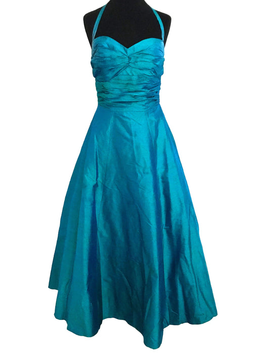 80s does 50s 100% Silk Monsoon Twilight Blue Green Halter Neck Sweetheart Occasion Evening Prom Xmas Party Cruise Full Swing Dress Ball Gown