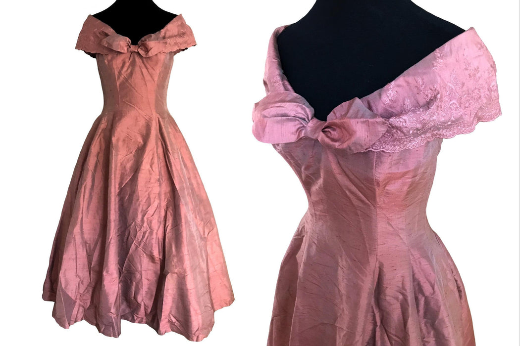 80s does 50s 100% Silk Monsoon Twilight Rose Gold Peach Pink Nude Special Occasion Evening Prom Xmas Party Cruise Full Swing Dress Ball Gown
