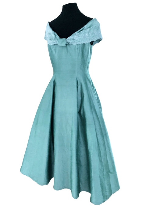 80s does 50s 100% Silk Monsoon Twilight Mint Pistachio Portrait Collar Occasion Evening Prom Xmas Party Cruise Full Swing Dress Ball Gown
